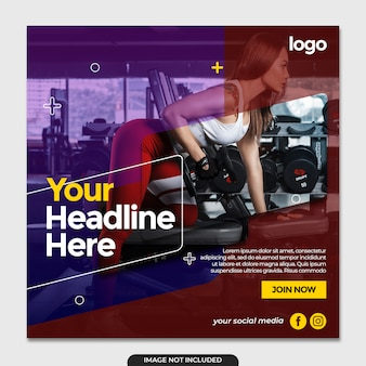 Modèle de publication de médias sociaux de gym