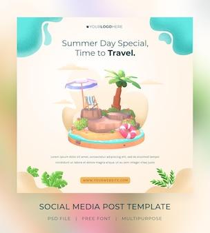Modèle de publication de médias sociaux hello summer de rendu 3d avec illustration de cocotier et de parapluie bea