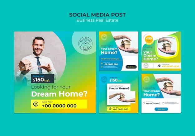 Modèle de publication sur les médias sociaux de l'immobilier