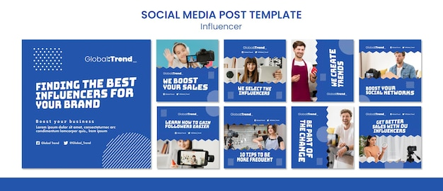 Modèle de publication sur les médias sociaux d'influenceur