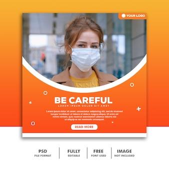 Modèle de publication sur les médias sociaux instagram médical, coronaviurs girl, soyez prudent