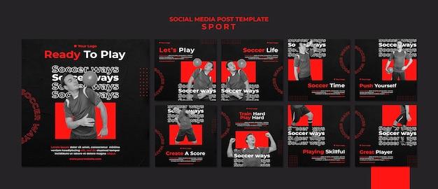 Modèle de publication sur les médias sociaux de joueur de football