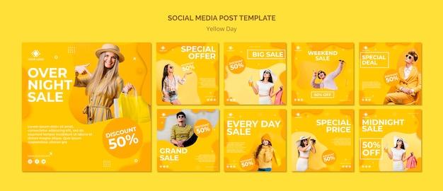 Modèle de publication de médias sociaux de jour jaune