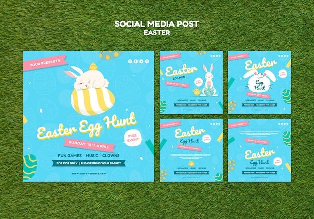 Modèle de publication sur les médias sociaux avec le jour de pâques