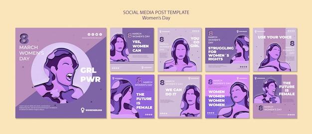 Modèle de publication sur les médias sociaux de la journée de la femme
