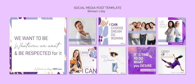 Modèle de publication sur les médias sociaux de la journée des femmes