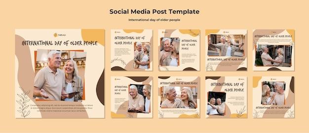 Modèle de publication sur les médias sociaux de la journée internationale des personnes âgées