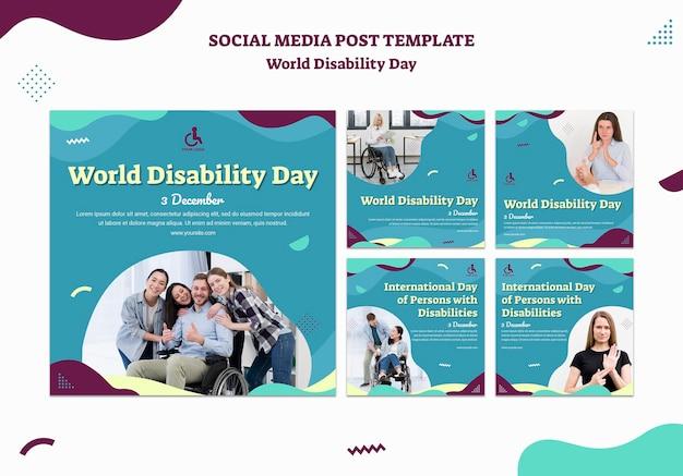 Modèle de publication sur les médias sociaux de la journée mondiale du handicap
