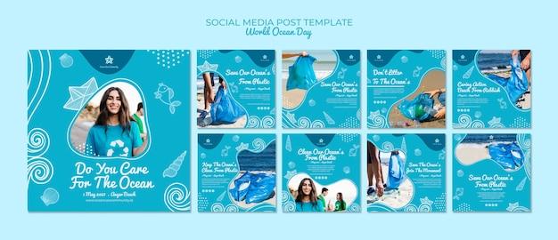 Modèle de publication sur les médias sociaux avec la journée mondiale de l'océan