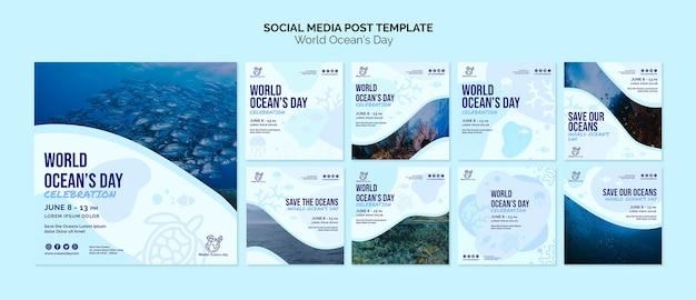 Modèle de publication sur les médias sociaux de la journée mondiale de l'océan