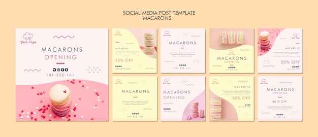 Modèle de publication de médias sociaux de macarons