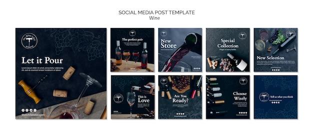 Modèle de publication de médias sociaux de magasin de vin