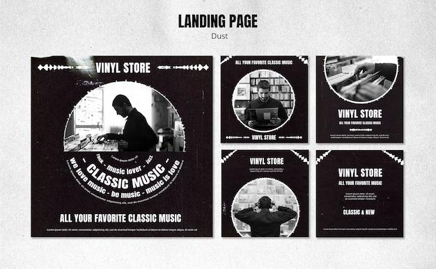 Modèle de publication sur les médias sociaux de magasin de vinyle