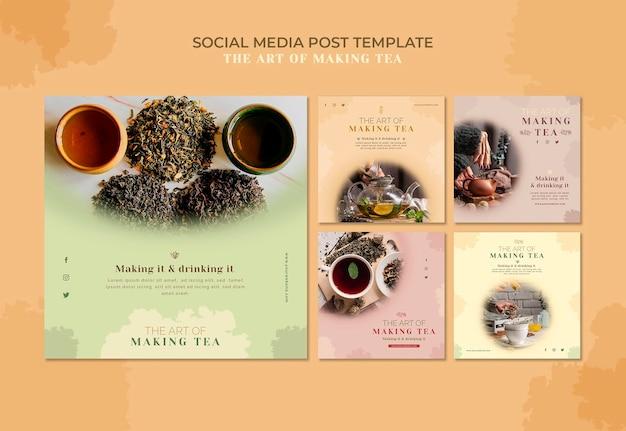 Modèle de publication sur les médias sociaux de la maison de thé