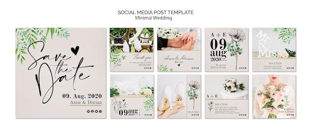 Modèle de publication de médias sociaux de mariage minimal