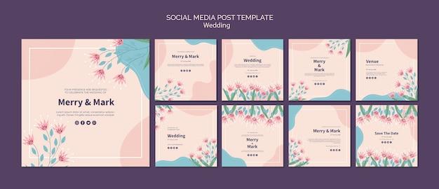 Modèle de publication de médias sociaux de mariage