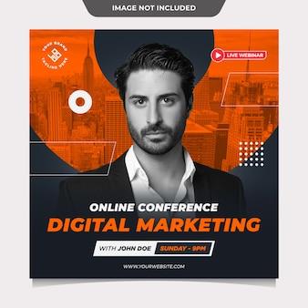 Modèle de publication sur les médias sociaux de marketing numérique de conférence en ligne