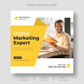 Modèle de publication sur les médias sociaux et le marketing numérique sur instagram