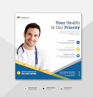 Modèle de publication de médias sociaux médicaux carrés