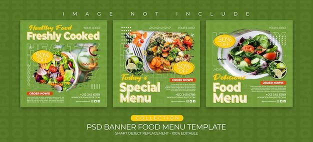 Modèle de publication sur les médias sociaux, menu d'aliments sains et collection de publications instagram de bannière culinaire