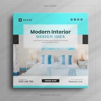 Modèle de publication sur les médias sociaux de mobilier moderne minimaliste