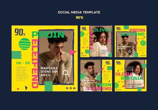Modèle de publication sur les médias sociaux de la mode des années 90