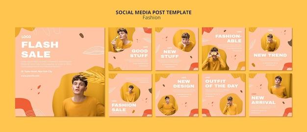 Modèle de publication sur les médias sociaux de mode masculine de vente flash