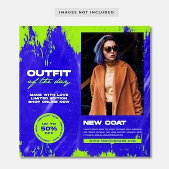 Modèle de publication sur les médias sociaux de la mode tenue streetwear