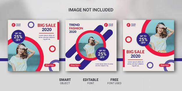 Modèle de publication de médias sociaux de mode de vente