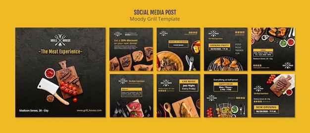 Modèle de publication de médias sociaux moody grill