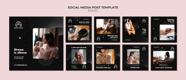 Modèle de publication sur les médias sociaux de la musique focus