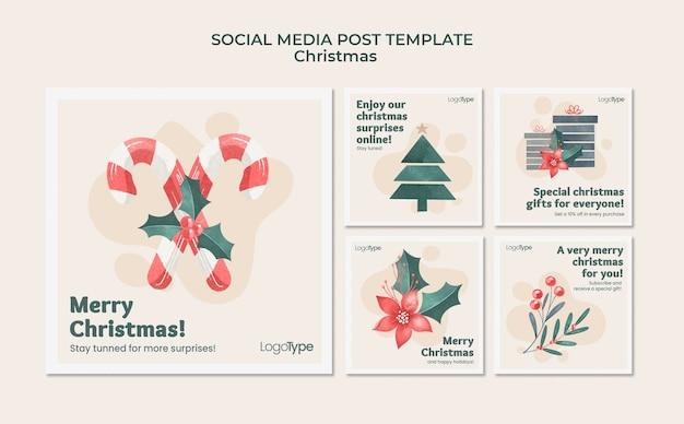 Modèle de publication sur les médias sociaux de noël en ligne