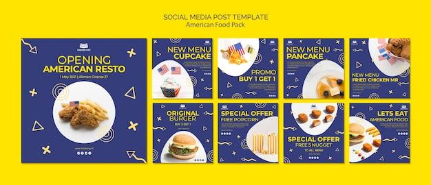 Modèle de publication de médias sociaux avec de la nourriture américaine