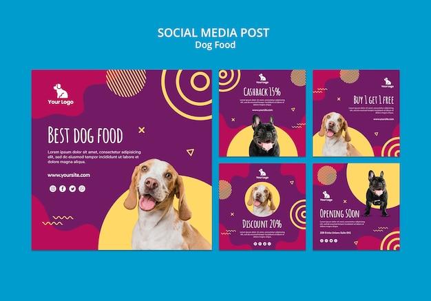 Modèle de publication de médias sociaux de nourriture pour chiens
