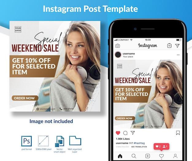 Modèle de publication sur les médias sociaux de l'offre de vente en fin de semaine
