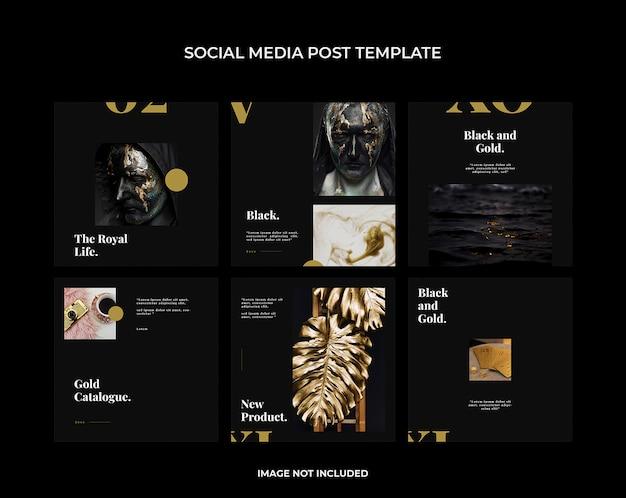 Modèle de publication sur les médias sociaux en or noir