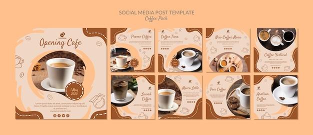 Modèle de publication de médias sociaux de pack de café