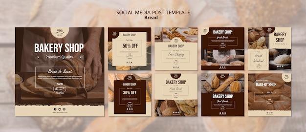 Modèle de publication de médias sociaux de pain
