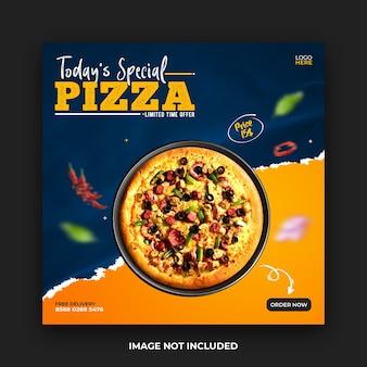Modèle de publication sur les médias sociaux de pizza
