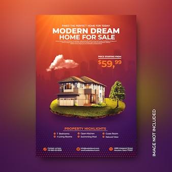 Modèle de publication sur les médias sociaux pour une affiche de vente promotionnelle de maison immobilière