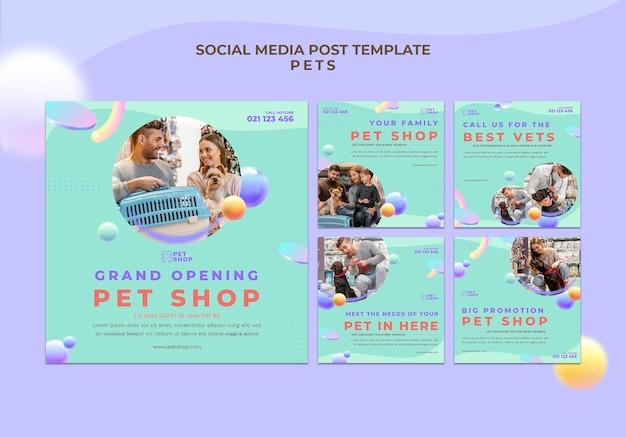 Modèle de publication sur les médias sociaux pour animalerie