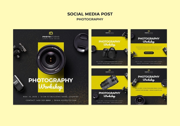 Modèle de publication sur les médias sociaux pour l'atelier de photographie
