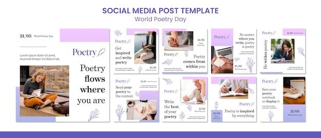 Modèle de publication de médias sociaux pour le concept de la journée mondiale de la poésie