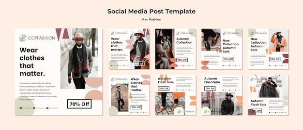 Modèle de publication de médias sociaux pour le concept de mode homme