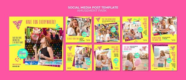 Modèle de publication de médias sociaux pour concept de parc d'attractions