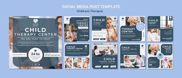Modèle de publication de médias sociaux pour concept de thérapeute pour enfants