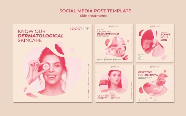Modèle de publication sur les médias sociaux pour le concept de traitement de la peau