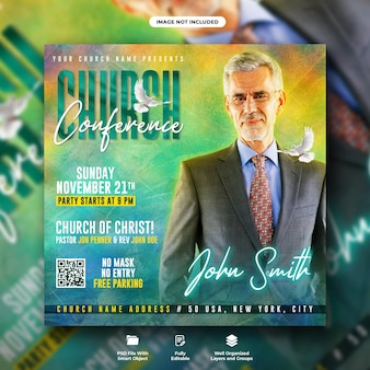 Modèle de publication sur les médias sociaux pour le dépliant de la conférence de l'église