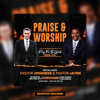 Modèle de publication sur les médias sociaux pour les prières de l'église psd premium