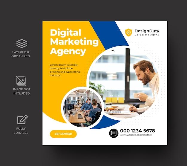 Modèle de publication sur les médias sociaux pour la promotion du marketing d'entreprise numérique